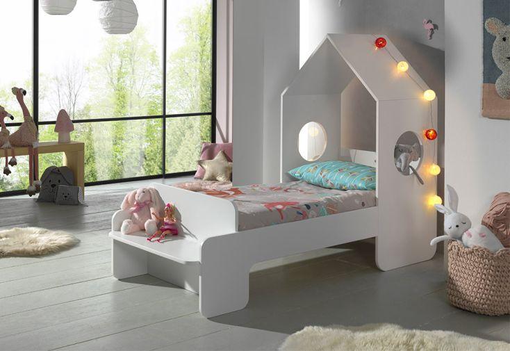 Lit Cabane pour Enfant en Bois MDF Vipack Casami Blanc 70 x 140 cm