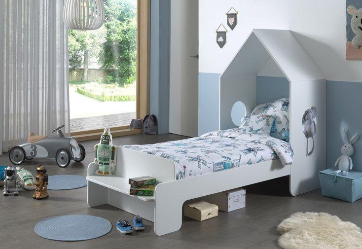 Lit Cabane pour Enfant en Bois MDF Vipack Casami Blanc 90 x 200 cm