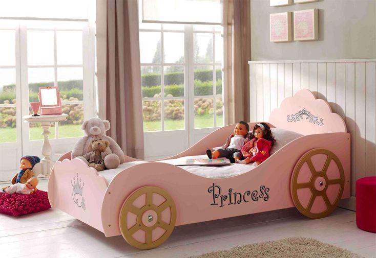 Lit voiture rose pour enfant Vipack carrosse de princesse