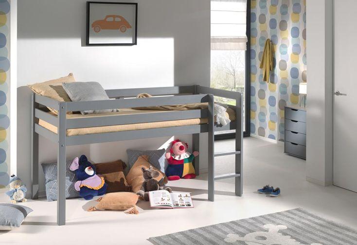 lit mezzanine enfant en bois gris de la marque Vipack