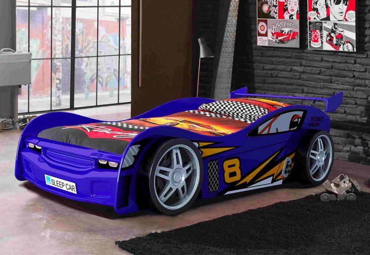 Lit voiture pour enfant 90 x 200 cm en bois bleu