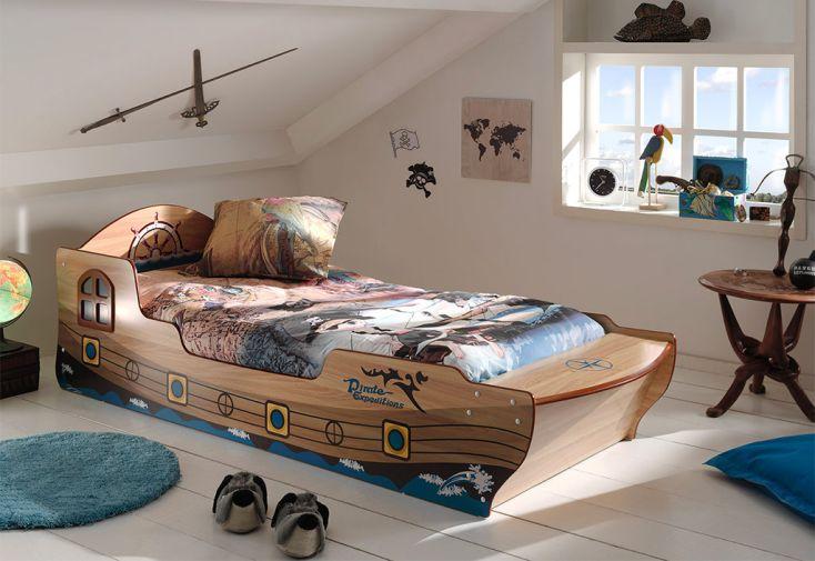 Lit bateau de pirates Vipack pour enfant en bois FSC