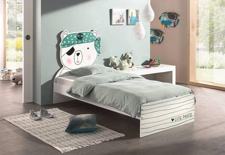 Lit pour enfant en bois 90 x 200 Cm avec tête de lit ours pirate