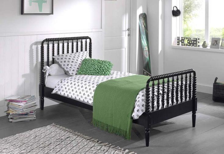 Lit avec tête de lit et pied de lit en bois massif noir pour enfant