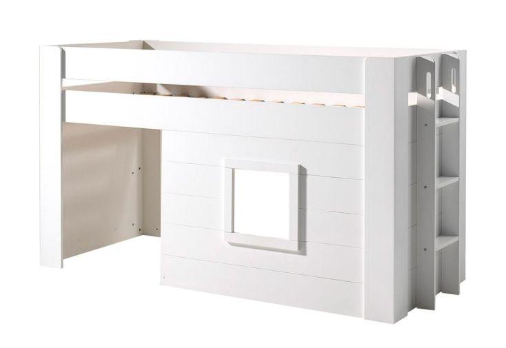 lit enfant mezzanine cabane en bois blanc noah 90 x 200 cm