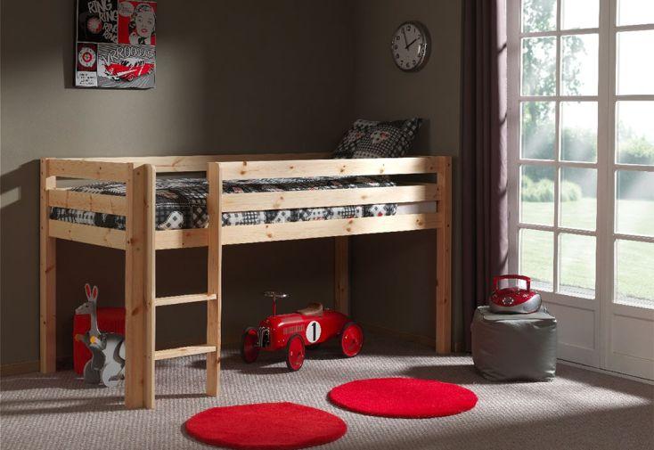 Lit mezzanine en bois mi-hauteur pour enfant dès 6 ans
