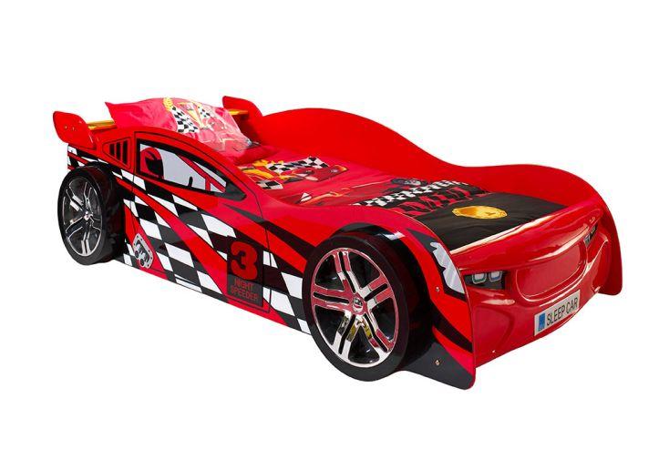 Lit voiture rouge Vipack Night Racer pour enfant 90 x 200 cm