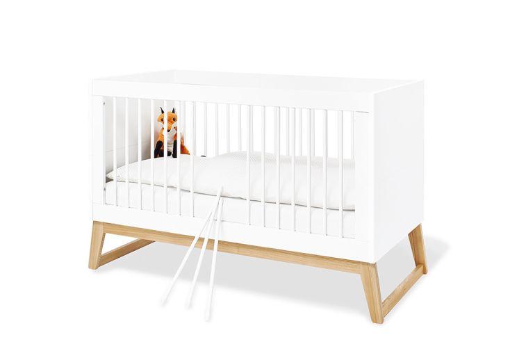 Lit bébé Pinolino en bois blanc barrières amovibles Bridge