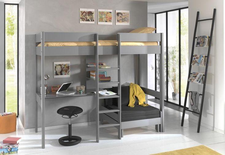 lit mezzanine en bois 1 place avec bureau et fauteuil 90 x 200 cm pino