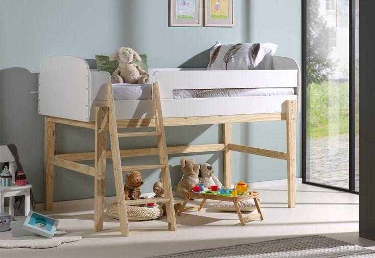 Lit mezzanine en bois massif blanc 120 cm pour enfant