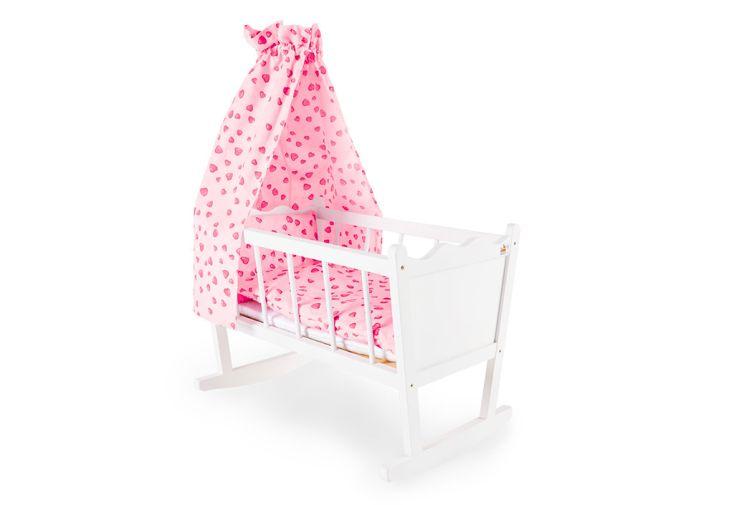Lit de poupée en bois Pinolino berceau blanc avec ciel de lit