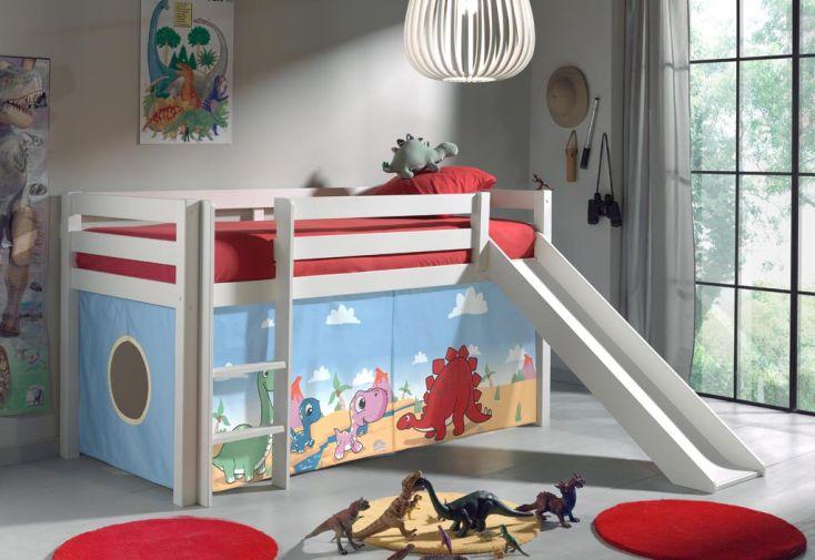 Lit Mezzanine Enfant avec Toboggan + Cabane sous le Lit (8 décors)