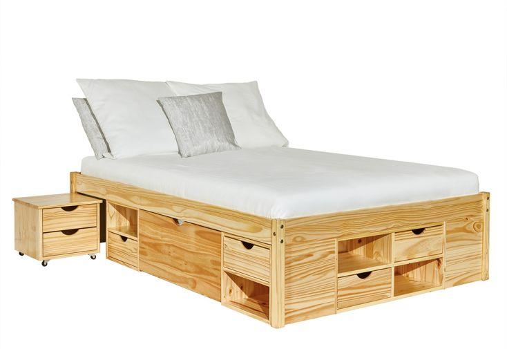 Lit deux places en bois 140 x 200 cm