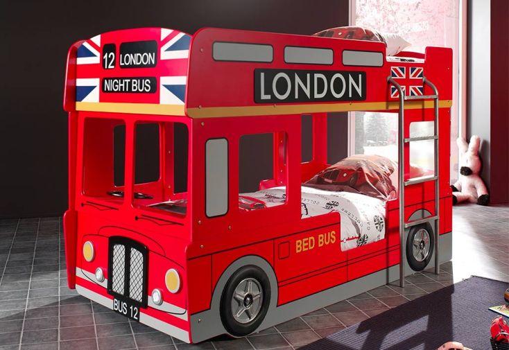 Lit superposé bus de Londres rouge 90 x 200 cm lit enfant Vipack