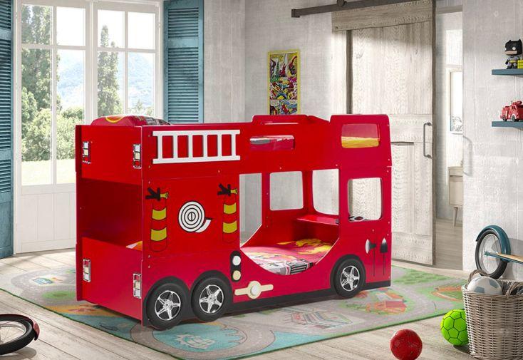 Lit superposé en bois camion de pompier rouge 90 x 200 cm Vipack