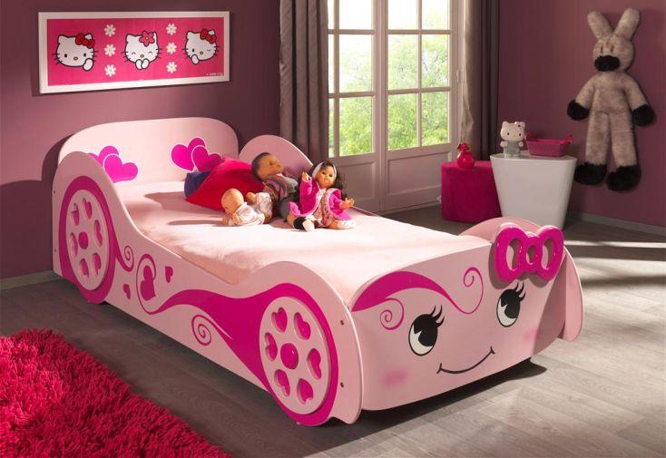 Lit voiture rose pour enfant Vipack en bois 90 x 200 cm