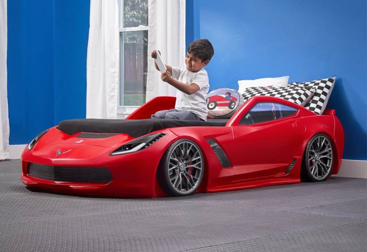 lit pour enfant corvette z06 avec lumires - Lit Voiture Enfant