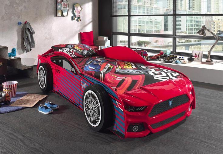 Lit voiture rouge en bois Vipack pour enfant 90 x 200 cm