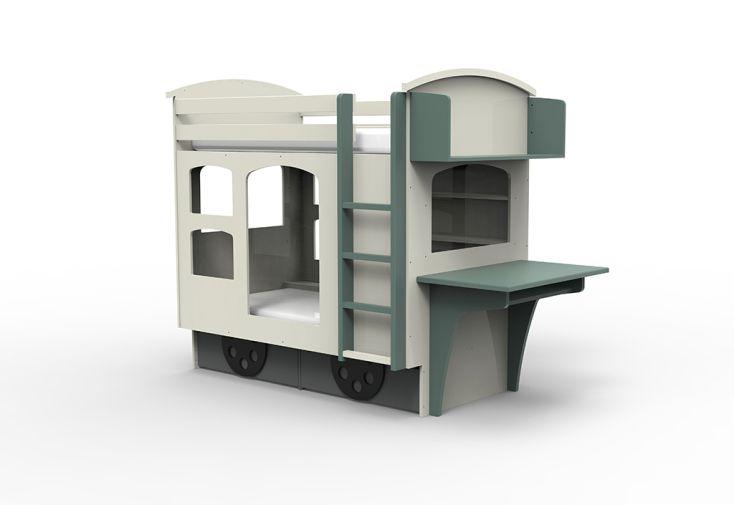 lit wagon enfant bicolore en sapin et bois MDF
