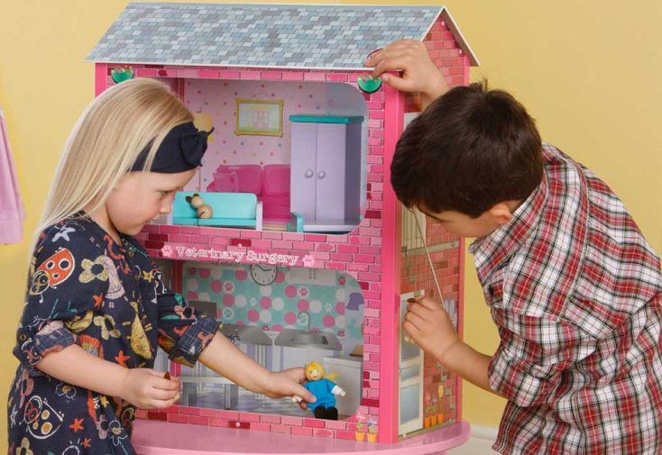 Maison de Poupée en Bois Rose et Bleue avec Accessoires