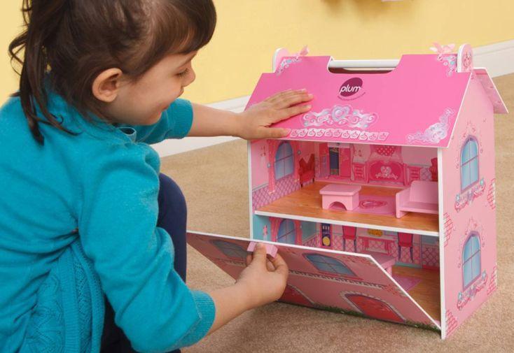 Maison de Poupée en Bois Rose avec Accessoires