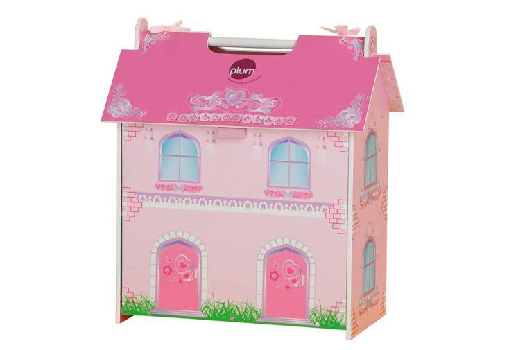 Maison de poup e en bois rose avec accessoires plum for Accessoires decoratifs maison