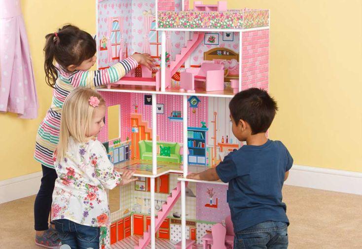 Maison de Poupée en Bois Rose et Bleue Tillington avec Accessoires