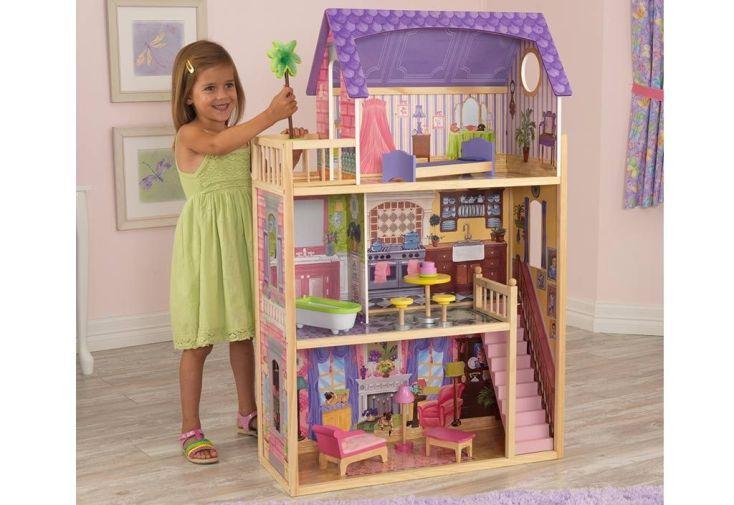 grande maison de poupées en bois kidkraft 1,20 m enfant meubles inclus