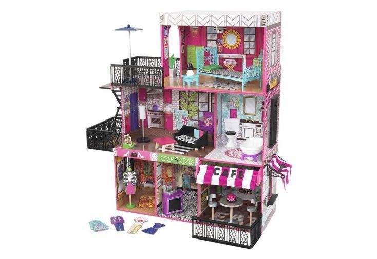 maison de poupées en bois rose brooklyn