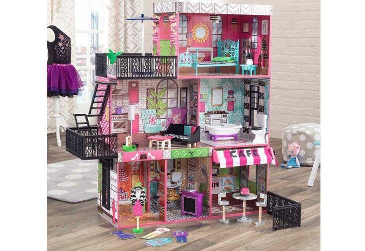 maison de poupées ville avec marchande et loft brooklyn