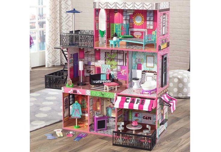 maison de poupées bois loft américain rose barbie