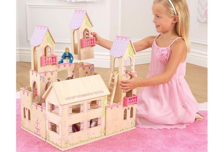 maison de poupées en bois château de princesse avec accessoires