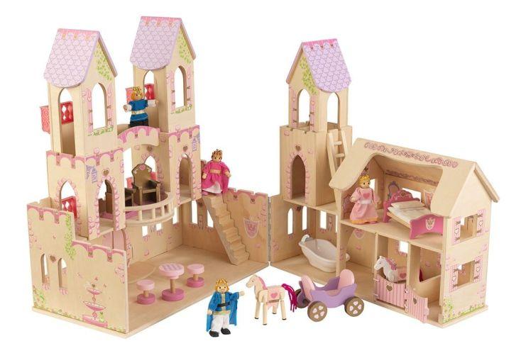 maison de poupées en bois princesse poupées incluses