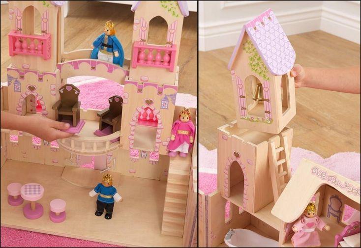 maison de poupées en bois avec accessoires prince et princesse