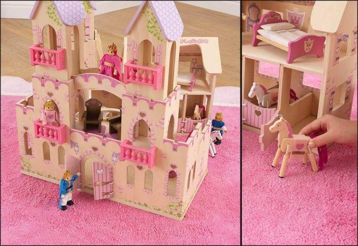 maison de poupées en bois château de princesse avec roi reine chevaux