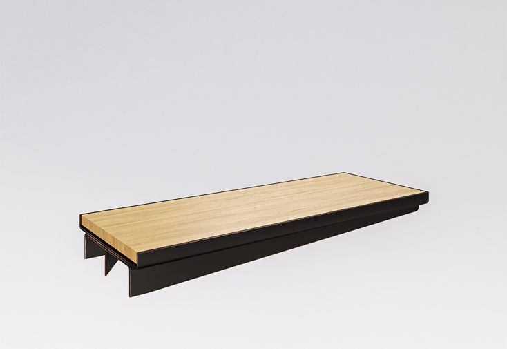marche en bois massif et tôle d'acier pour escalier suspendu sur mesure