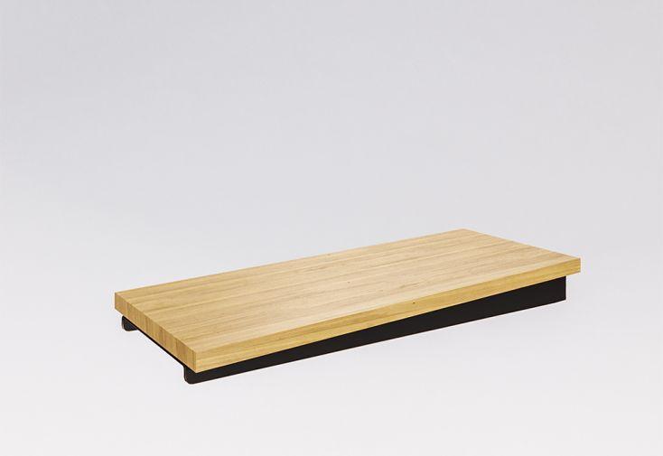 marche en bois massif pour limon suspendu escalier sur mesure