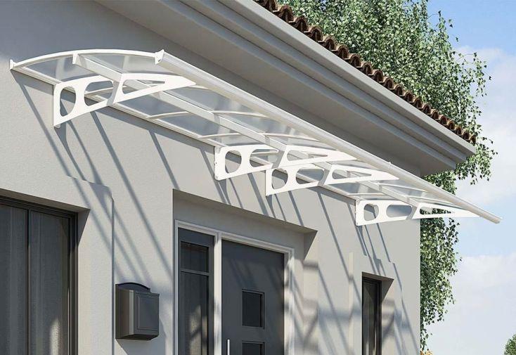 Marquise de porte d entr e blanche aluminium et acrylique 4 50 m palram for Porte aluminium blanche