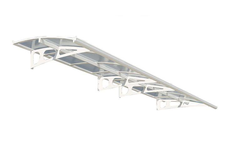marquise de porte en aluminium blanc et panneaux de verre acrylique 3 mm