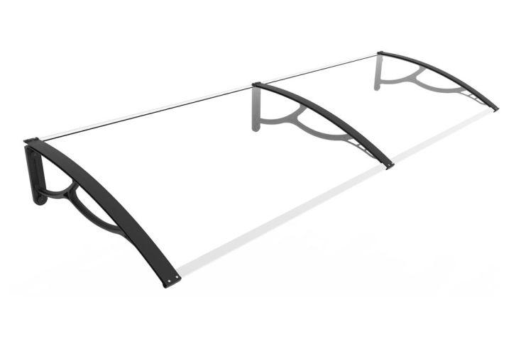marquise 200 cm en polycarbonate transparent haute résistance anti-UV