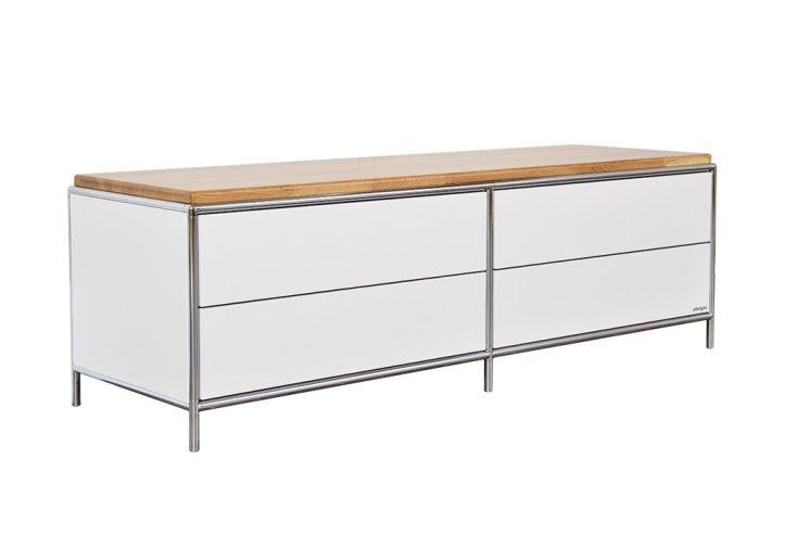 meuble bas de télévision à 4 tiroirs de rangement 2 à 2