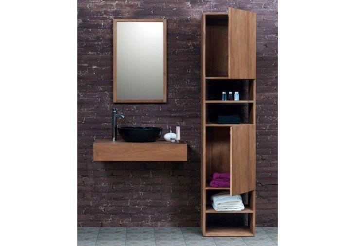 Meuble de salle de bain en teck avec vasque miroir for Miroir salle de bain teck