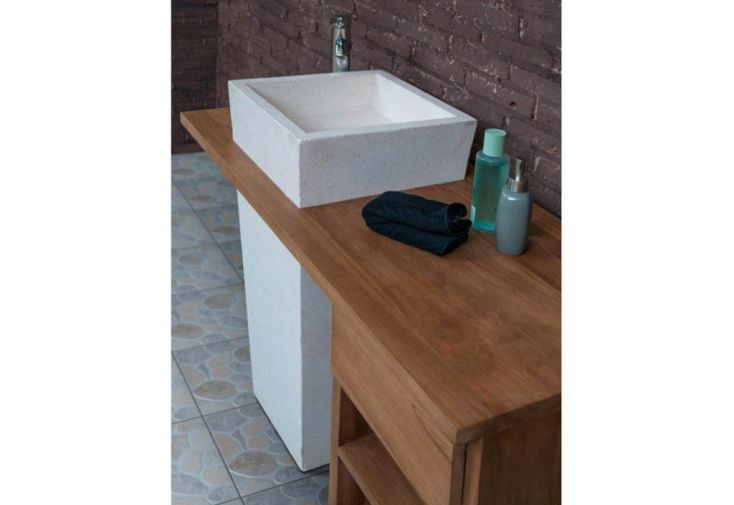 meuble salle de bain, teck + vasque 90 en terrazzo + meuble ... - Meuble Salle De Bain Teck Suspendu