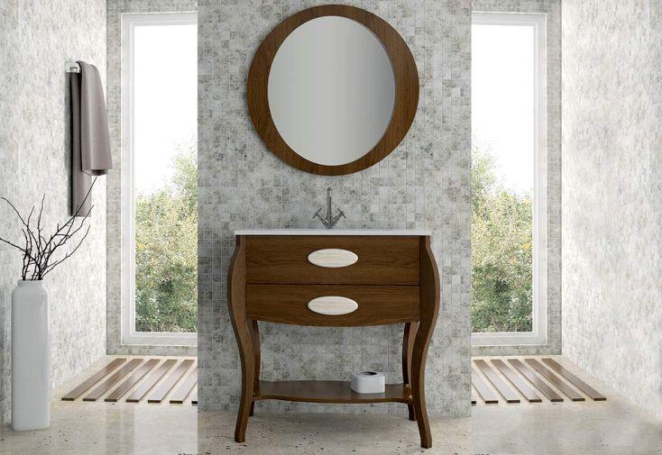 Meuble de Salle de Bain avec Vasque et Miroir 80x85x45cm