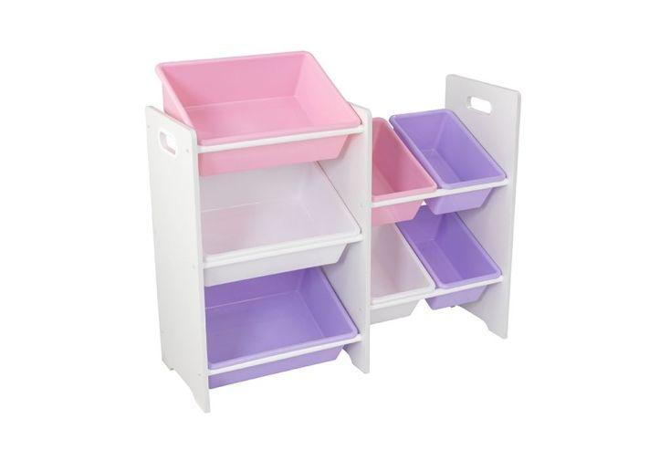 meuble de rangement en bois avec 7 bacs en plastique pastel