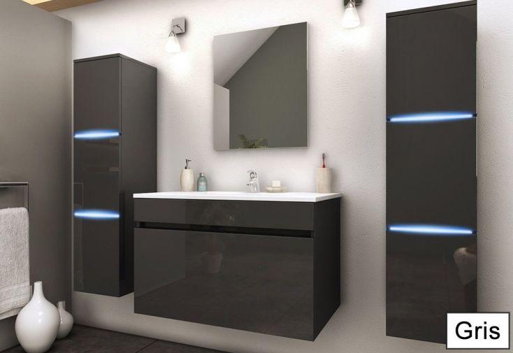 Meuble de Salle de Bain Simple Vasque + 2 Colonnes LED Lecce (pls ...