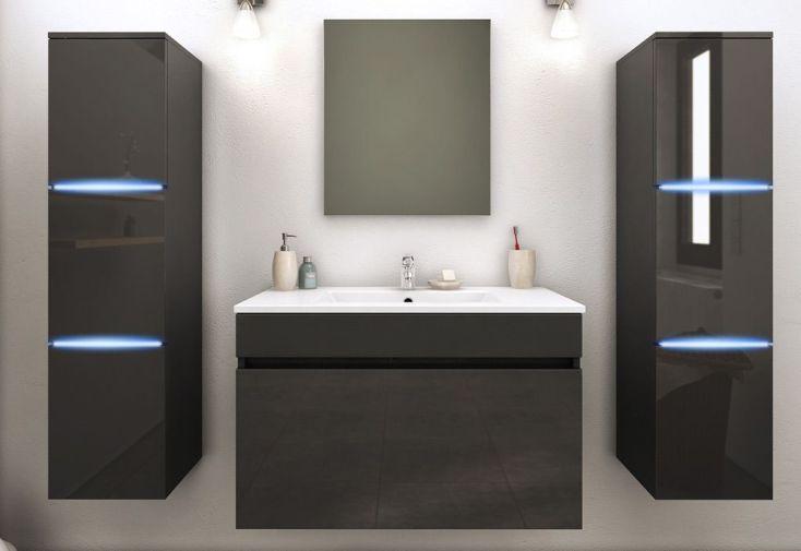 vasque avec colonne Meuble de salle de bain gris en bois avec 2 colonnes LED ...