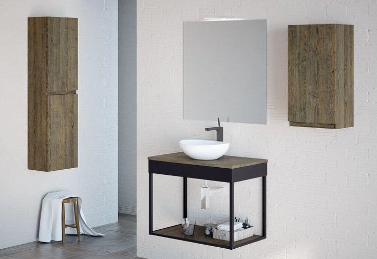 Meuble Salle de Bain Bois/Métal + Vasque à Poser et Miroir Ambiente 11
