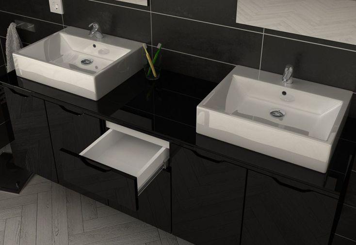 Meuble de Salle de Bain Double Vasque en Bois Noir + 2 Miroirs Lisia
