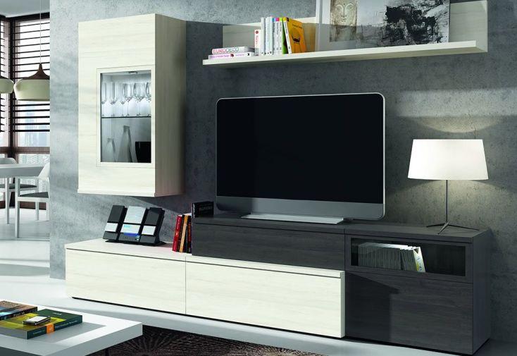 meuble bas de télé composé de commodes basses, étagère haute et meuble mural avec lampe à led pour ambiance cosy